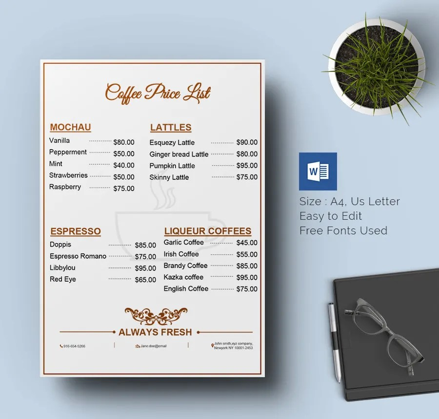 25+ Price List Templates - DOC, PDF, Excel, PSD Free  Premium - product list samples