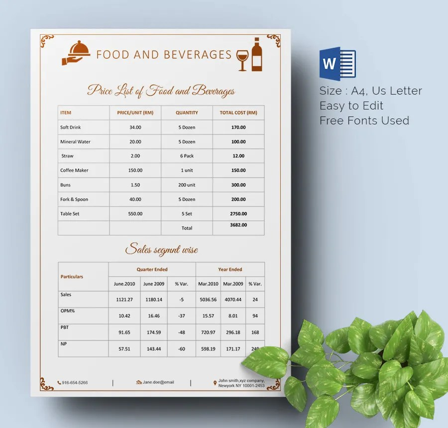 Price List Template - 25+ Free Word, Excel, PDF, PSD Format Download - price list template