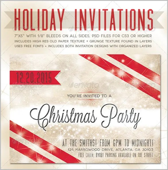 Holiday Invitation Template \u2013 17+ PSD, Vector EPS, AI, PDF Format