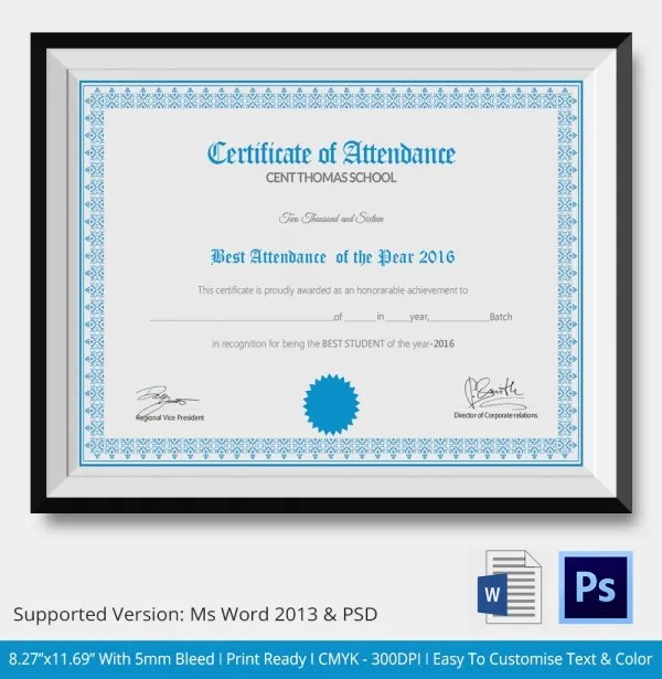 attendance certificate template - 28 images - attendance - printable certificate of attendance