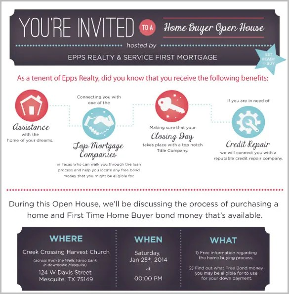 Open House Invitation Template \u2013 11+ Free PSD, Vector EPS, AI - business invitation templates