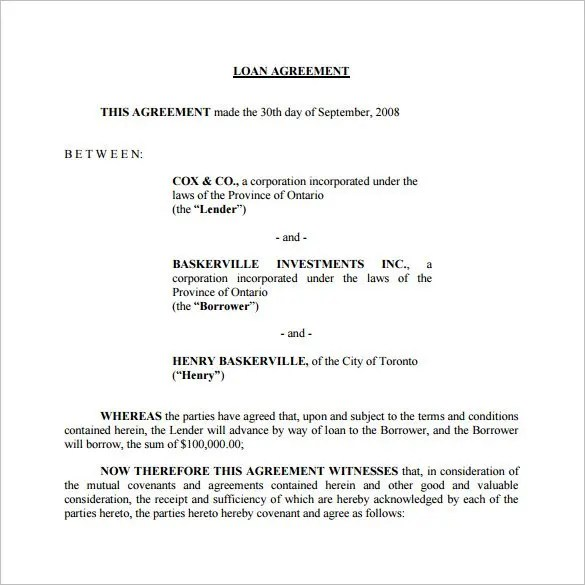Loan Contract Template \u2013 27+ Examples in Word, PDF Free  Premium - Loan Document Template