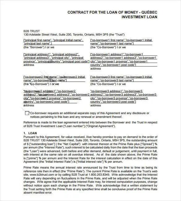 Loan Contract Template \u2013 27+ Examples in Word, PDF Free  Premium - loan agreements between individuals