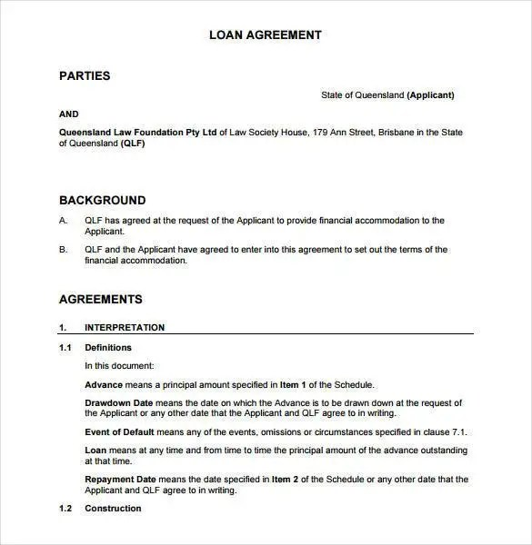 Loan Contract Template \u2013 27+ Examples in Word, PDF Free  Premium - Loan Agreement Example