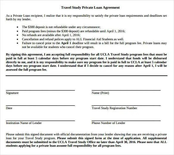 Loan Contract Template \u2013 27+ Examples in Word, PDF Free  Premium - private loan agreement template