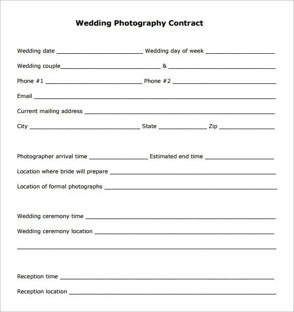 18+ Photography Contract Templates \u2013 PDF, DOC Free  Premium Templates