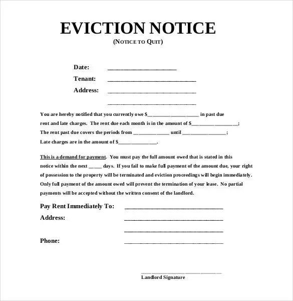 21+ Sample Eviction Notice Templates - DOC, PDF Free  Premium - copy of an eviction notice