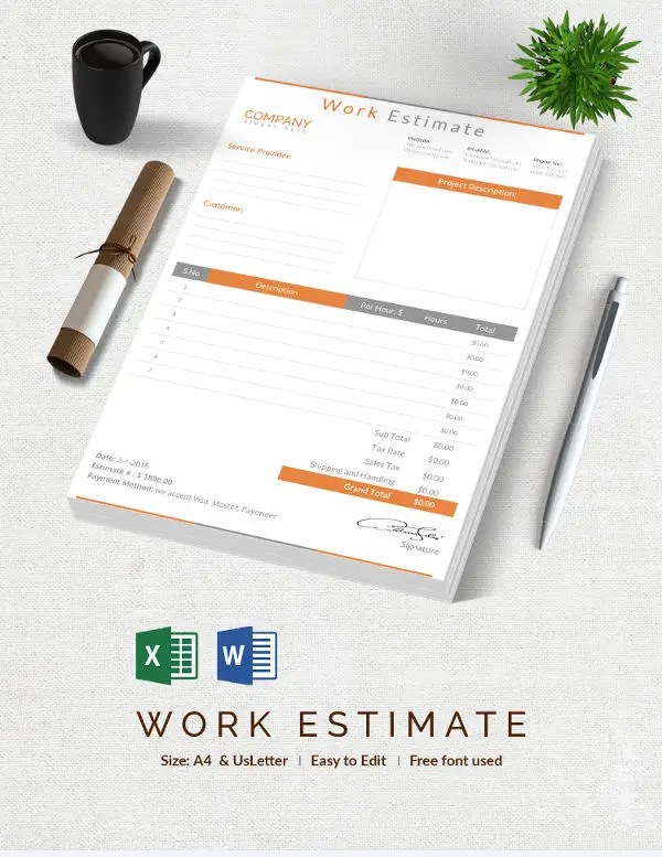 23+ Blank Estimate Templates - PDF, DOC, Excel, ODT Free  Premium