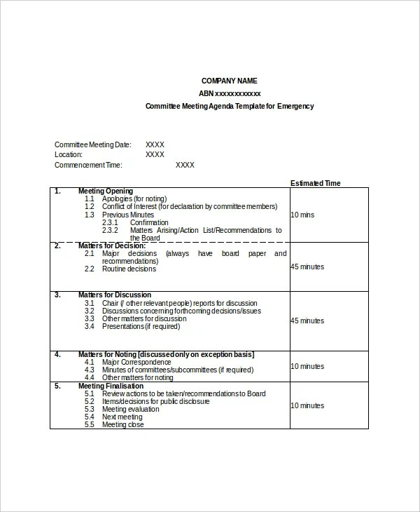 15+ Committee Meeting Agenda Templates u2013 Free Sample, Example - sample meeting agenda 2