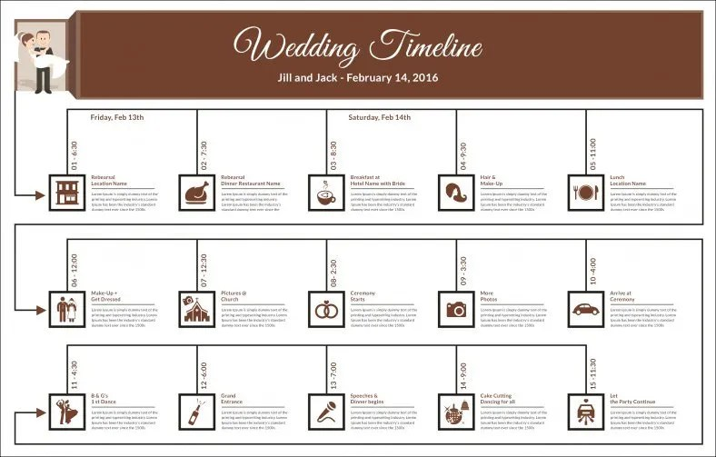 Wedding Timeline Template \u2013 35+ Free Word, Excel, PDF, PSD, Vector - wedding schedule templates