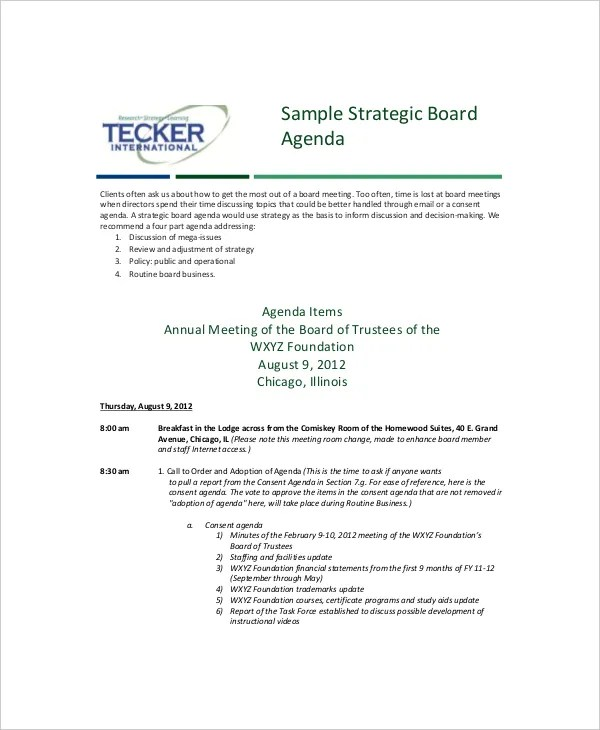 12+ Strategy Meeting Agenda Templates u2013 Free Sample, Example - sample meeting agenda 2