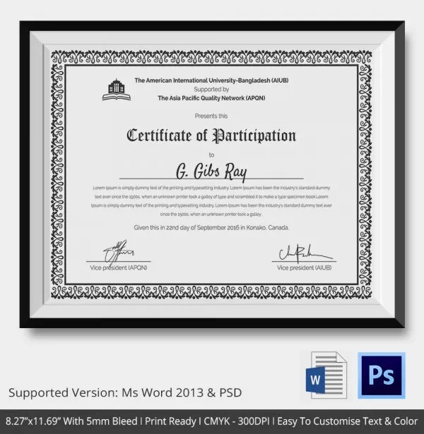 participation wording samples copy sample plaque certificate of