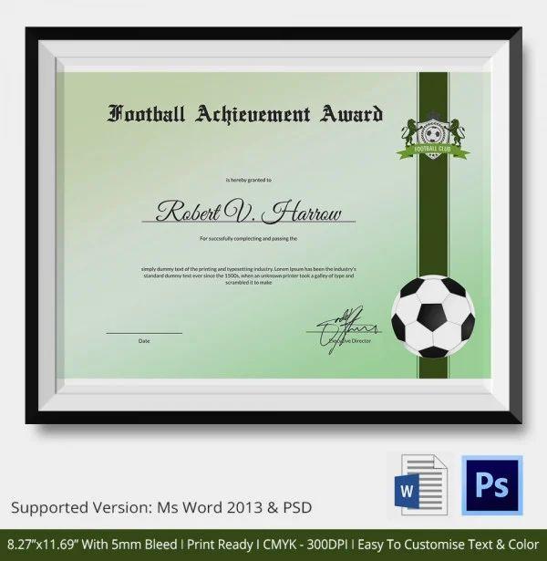 soccer achievement certificates