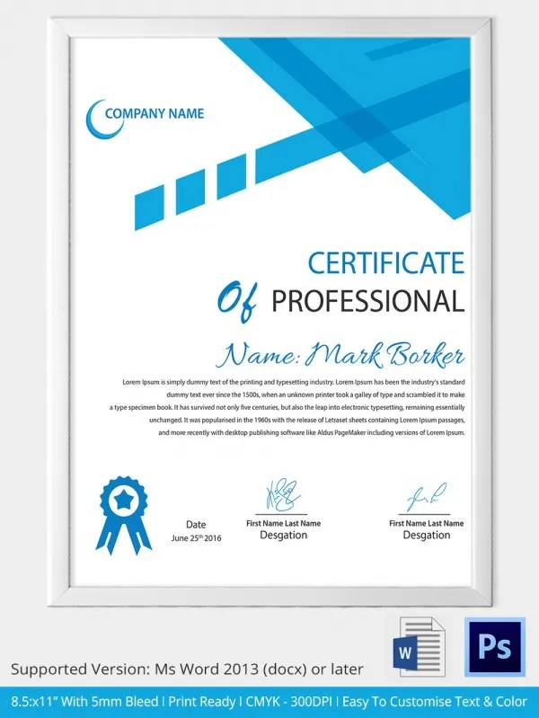 Word Certificate Templates Simple Training Completion Certificate - sample certificate templates