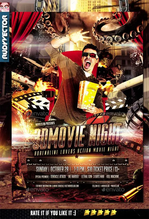 Movie Night Flyer Template - 18+ Free JPG, PSD Format Download