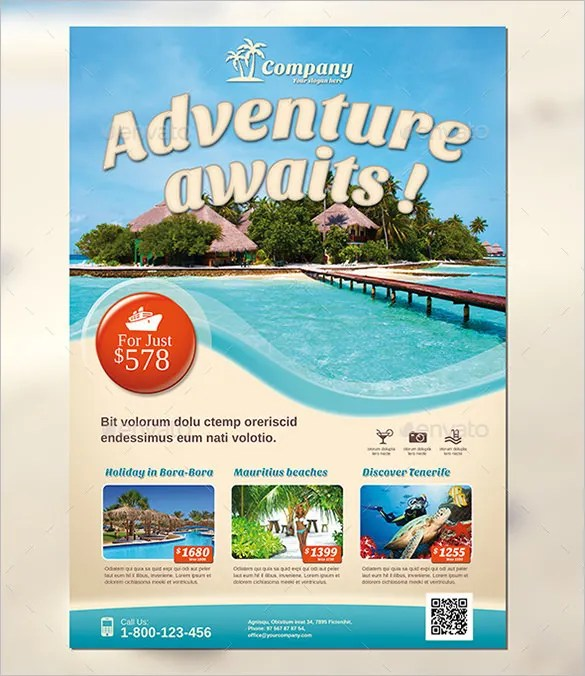 travel poster template - Funfpandroid - Vacation Brochure Template
