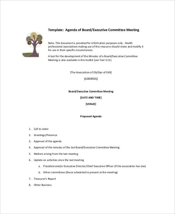 15+ Committee Meeting Agenda Templates \u2013 Free Sample, Example Format