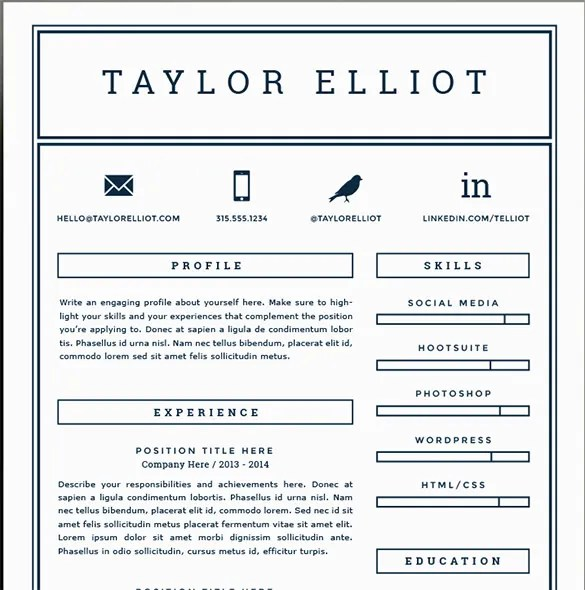 41+ One Page Resume Templates - Free Samples, Examples,  Formats - One Page Resume Example