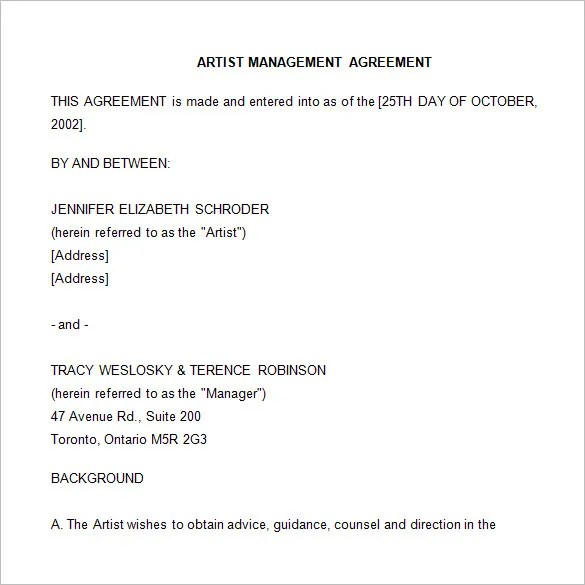 artist management contract template free - Ozilalmanoof - management agreements