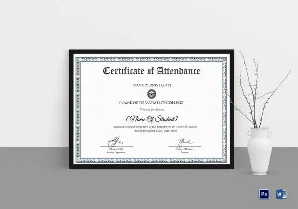 Attendance Certificate Templates - 24+ Free Word, PDF Documents