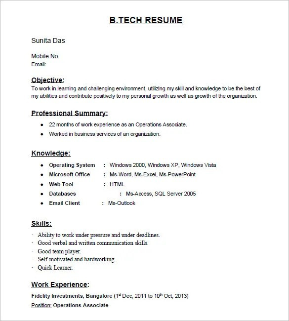 resume format samples for freshers - Ozilalmanoof