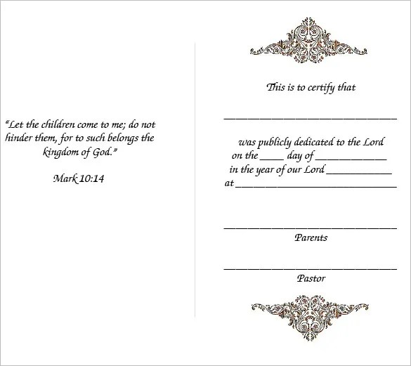 Baby Dedication Certificate Template - 21+ Free Word, PDF Documents