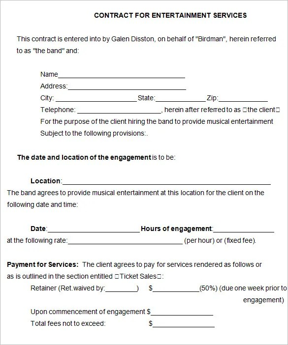 Music Management Contract Template | Formal Letter To Quit Job