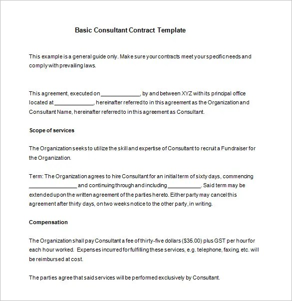 12+ Consultant Contract Templates- Free Word, PDF Documents Download - consulting contract template