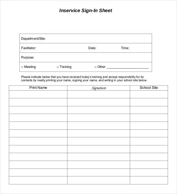 inservice sign in sheet - Solidgraphikworks
