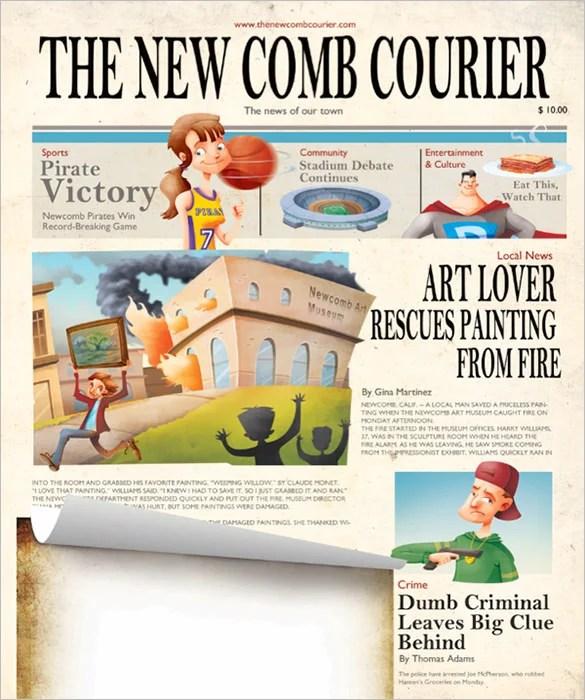 12+ Kids Newspaper Templates \u2013 Free Sample, Example, Format Download - Newspaper Templates For Kids
