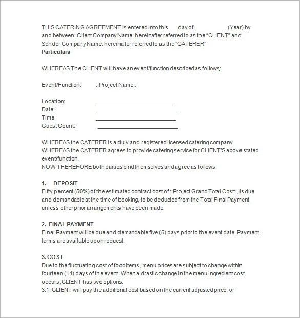 Catering Proposal Template Catering Business 5+ Catering Proposal - proposal contract template