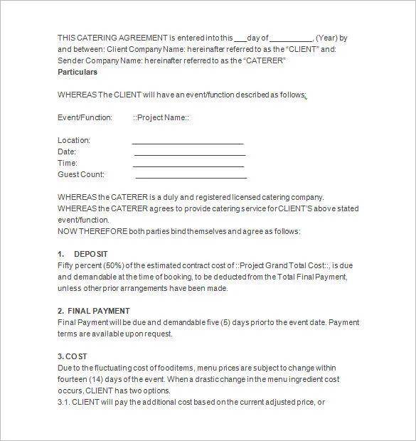 catering agreement contract sample