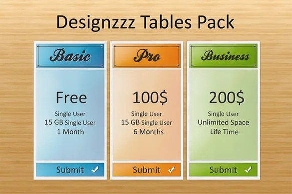 11+ Awesome PSD Pricing Table Templates Free  Premium Templates