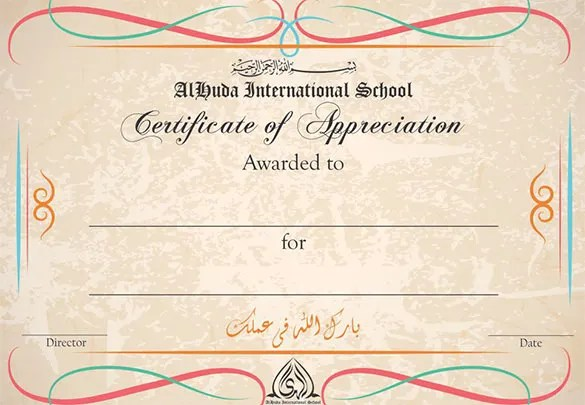 Certificate of Appreciation Template - 30+ Free Word, PDF, Photoshop - military certificate of appreciation template