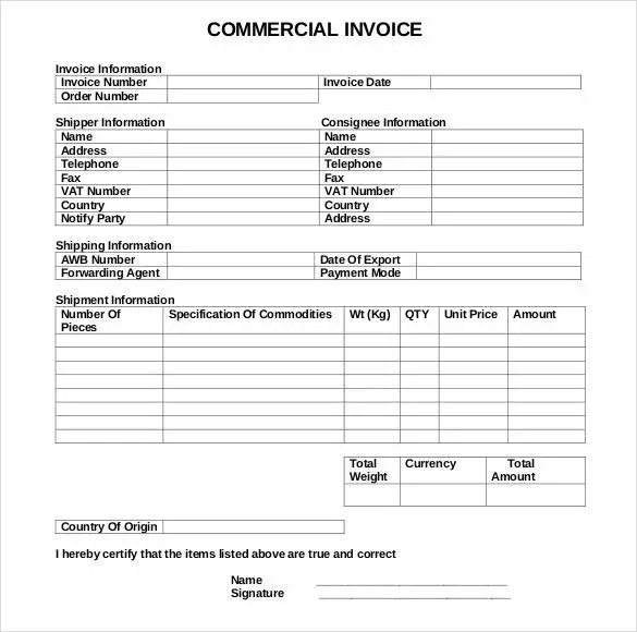 Commercial Invoice DOWNLOAD At Httpwwwexcelinvoicetemplatescom 8