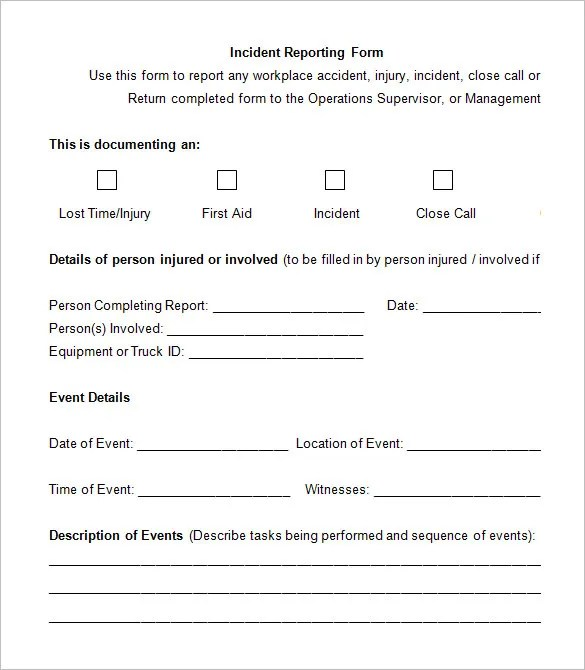 12+ Employee Incident Report Templates - PDF, DOC Free  Premium - Accident Report Template