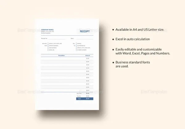 Blank Receipt Template \u2013 25+ Free Word, Excel, PDF, Vector EPS - blank invoice template free