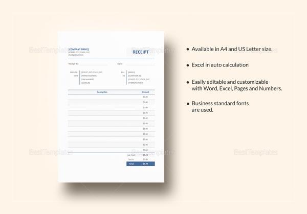 Blank Receipt Template \u2013 25+ Free Word, Excel, PDF, Vector EPS - free blank receipt template