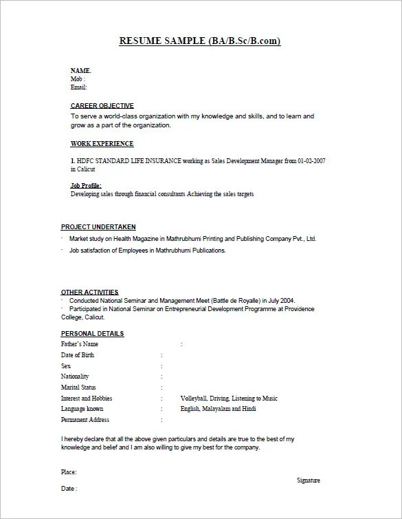 16+ Resume Templates for Freshers - PDF, DOC Free  Premium Templates - Simple Resume Format For Freshers