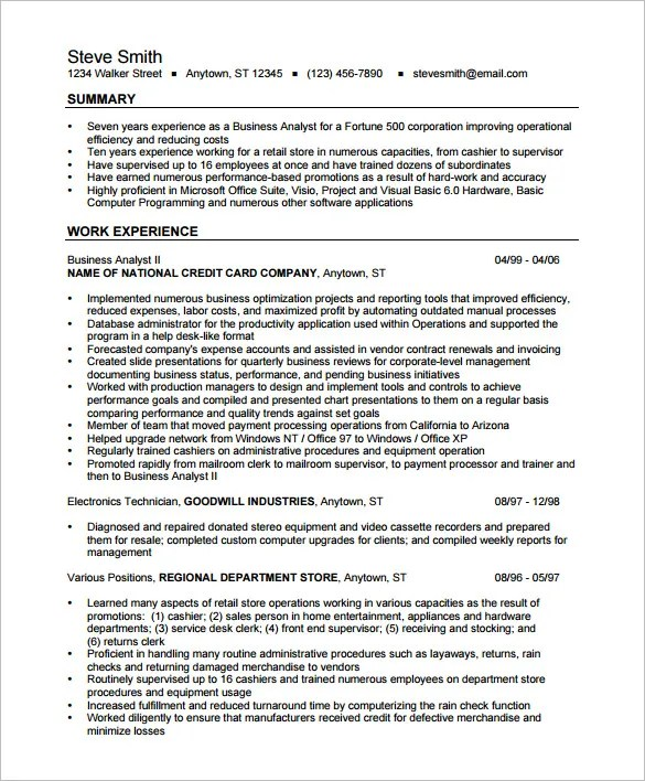 Business Analyst Resume Template \u2013 15+ Free Samples, Examples
