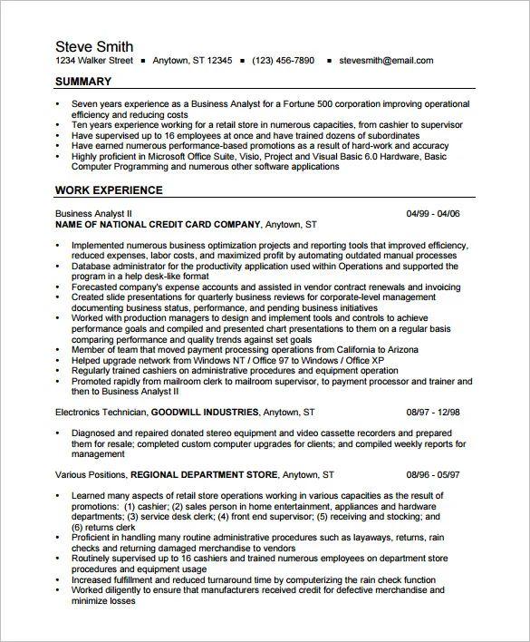 junior it business analyst sample resume