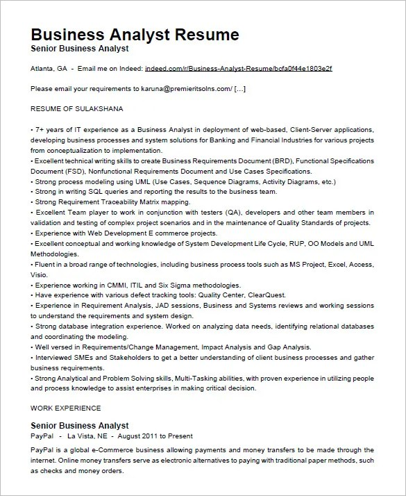 sample of business analyst resumes - Maggilocustdesign
