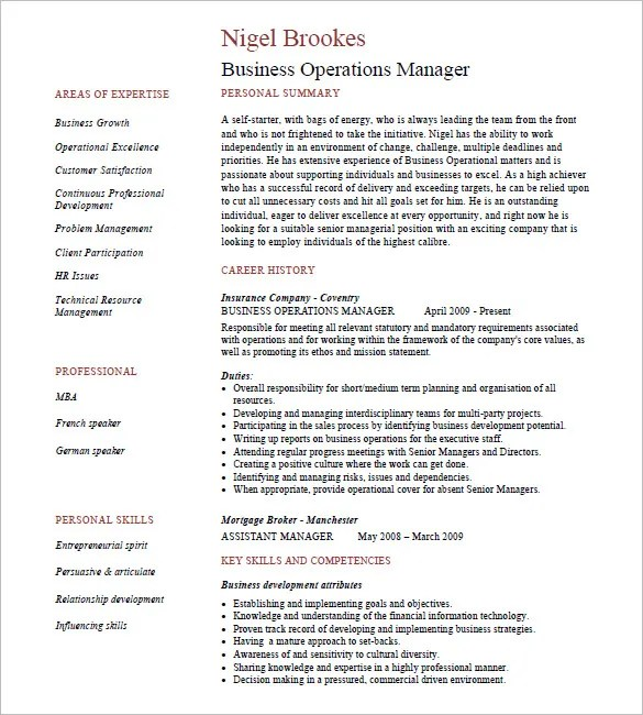 15+ Business Resume Templates - PDF, DOC Free  Premium Templates