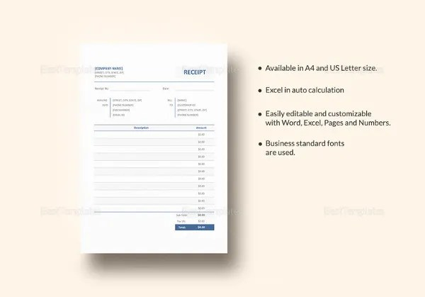 Business Receipt Template - 15+ Free Word, Excel, PDF Format - business receipts template