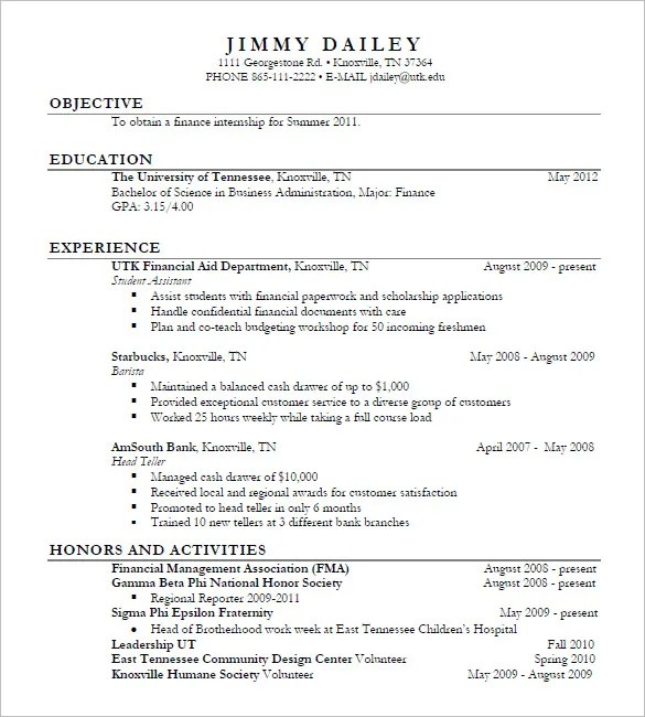 15+ Business Resume Templates \u2013 Free Samples, Examples,  Formats