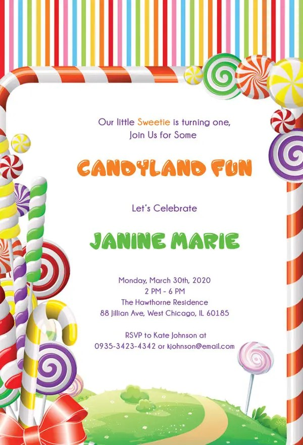 14+ Wonderful Candyland Invitation Templates Free  Premium Templates - bday invitations templates
