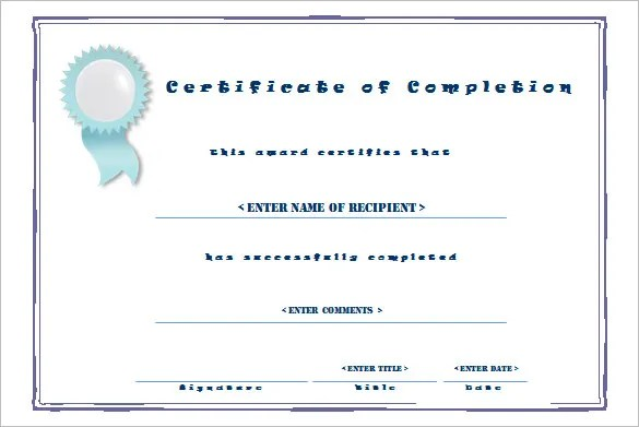 Completion Certificate Templates \u2013 40+ Free Word, PDF, PSD, EPS - certificate of completion template free