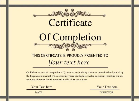 Printable Certificate Template - 46+ Adobe Illustrator Documents - blank certificates of completion