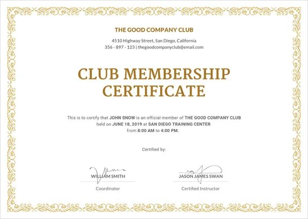 Membership Certificate Template - 23+ Free Word, PDF Documents