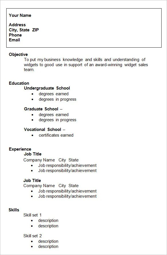 example of a cv resume solarfmtk resume sample resume templates - Format Cv Resume